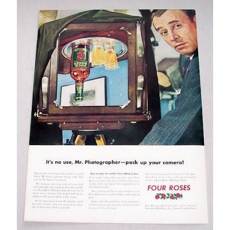 1943 Four Roses Whiskey Photography Color Print Ad - Pack Up Your Camera!
