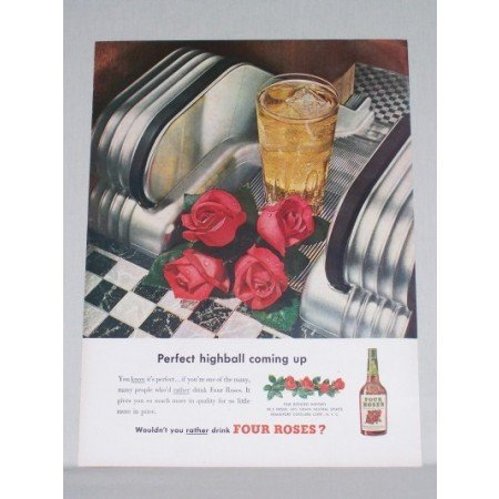 1950 Four Roses Whiskey Color Print Ad - Perfect Highball