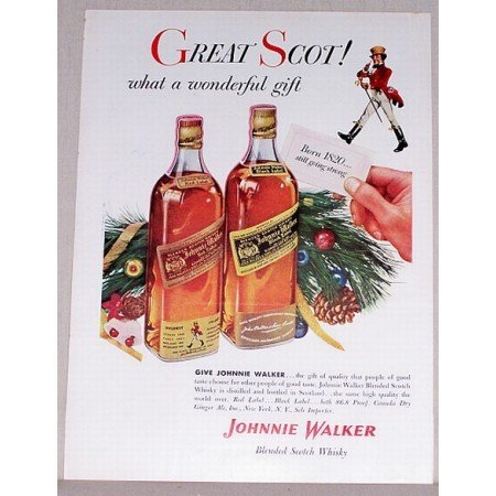 1954 Johnnie Walker Scotch Whiskey Color Print Ad - Great Scot