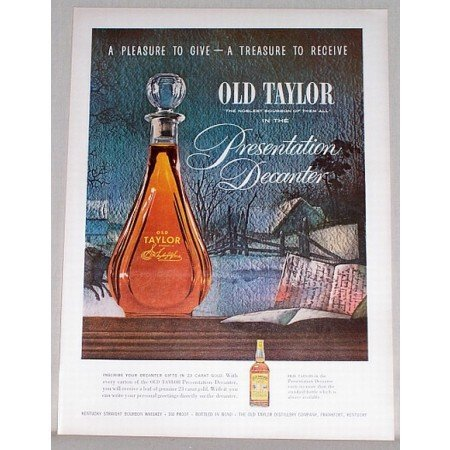 1954 Old Taylor Whiskey Presentation Decanter Color Print Ad