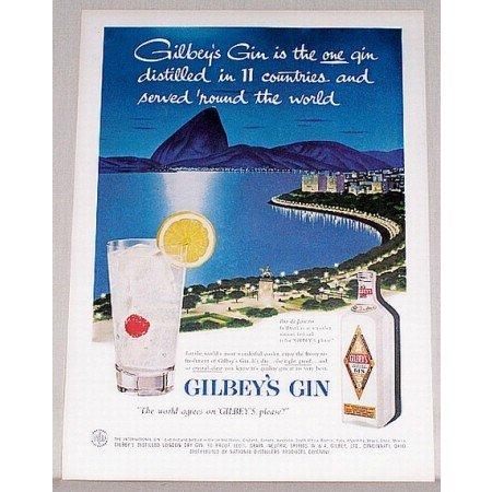 1957 Gilbey's Gin Rio de Janeiro Brazil Color Art Print Ad