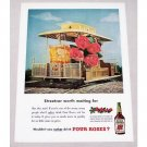 1949 Four Roses Whiskey Color Print Ad - Streetcar Waiting