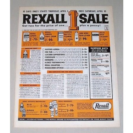 1965 Rexall Drugs 1ct Sale Color Print Ad