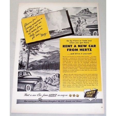 1948 Hertz Driv-Ur-Self System Color Print Ad