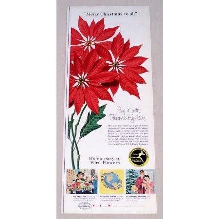 1956 FTD Florist Poinsettias Color Print Ad
