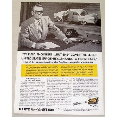 1955 Hertz Rent A Car Systems Print Ad - 22 Field Engineer