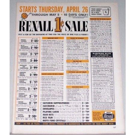 1962 Rexall Drugs 1 Cent Sale Color Print Ad