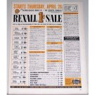 1962 Rexall Drugs 1 Cent Sale Color Print Ad