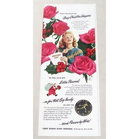 1947 FTD Florist Red Roses Color Print Ad