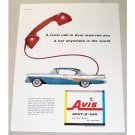 1958 Avis Rent-A-Car Color Print Ad