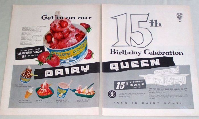 1955 Dairy Queen 15th Birthday Ice Cream Sundae Color 2 Page Print Ad