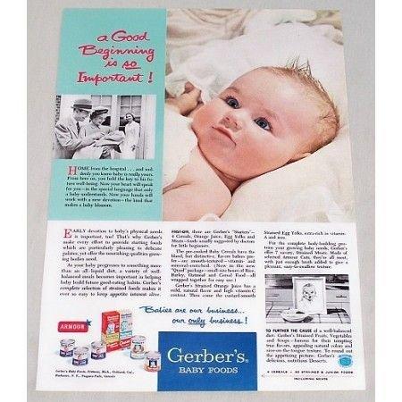 1953 Gerber's Baby Foods Color Print Ad - Good Beginning