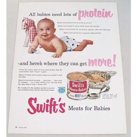 1953 Swift's Meats For Babies Color Print Ad