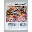 1957 Pillsbury Hot Roll Mix 2 Page Color Print Ad - Pizza Party