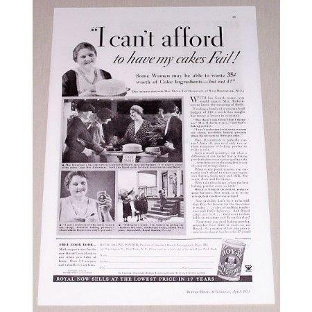 1934 Royal Baking Powder Print Ad