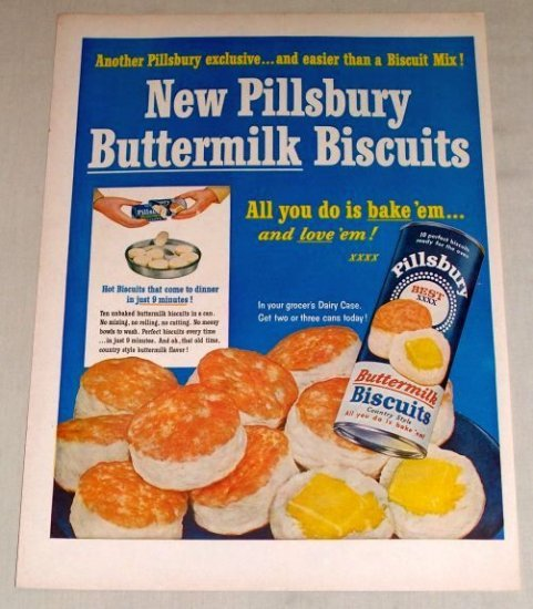 1954 Pillsbury Canned Buttermilk Biscuits Color Print Ad