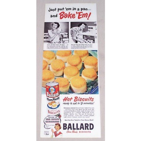 1949 Ballard Oven Ready Bisquits Color Print Ad