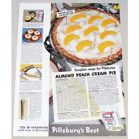 1942 Pillsbury's Flour Almond Peach Pie Recipe Color Print Ad