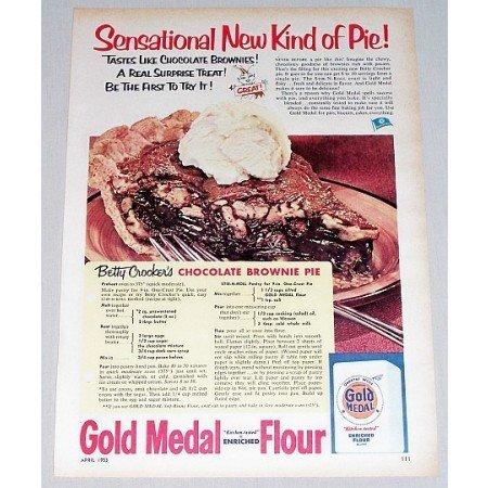 1953 Gold Medal Flour Brownie Pie Recipe Color Print Ad
