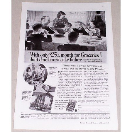 1935 Royal Baking Powder Print Ad - With Only $25 A Month...
