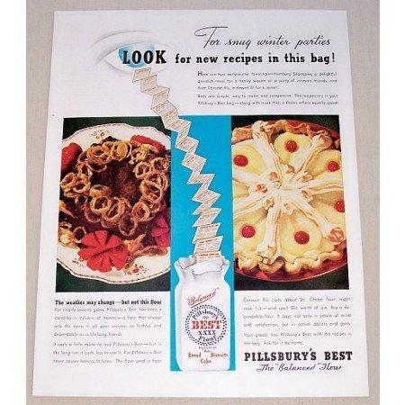 1937 Pillsbury Best Flour Color Print Ad - Snug Winter Parties