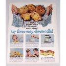 1961 Fleishmann's Yeast Cheese Rolls Recipe Color Print Ad