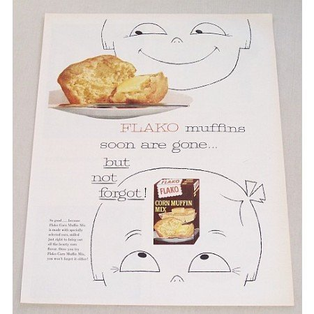 1963 Flako Corn Muffin Mix Color Print Ad - Soon Are Gone