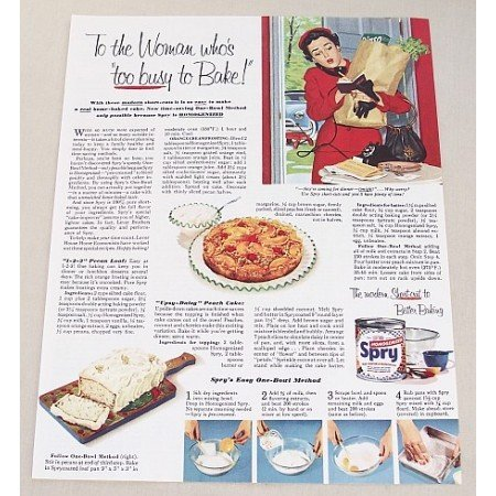 1953 Spry Shortening Color Print Ad - Too Busy To Bake!