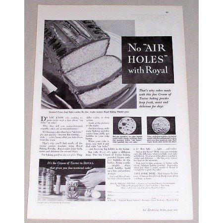 1932 Royal Baking Powder Print Ad - No Air Holes