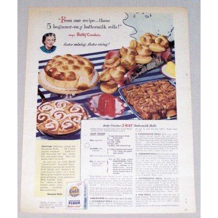 1949 Gold Medal Flour Buttermilk Rolls Recipe Color Print Ad