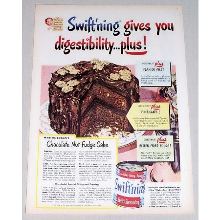 1952 Swift'ning Shortening Chocolate Fudge Cake Recipe Color Print Ad