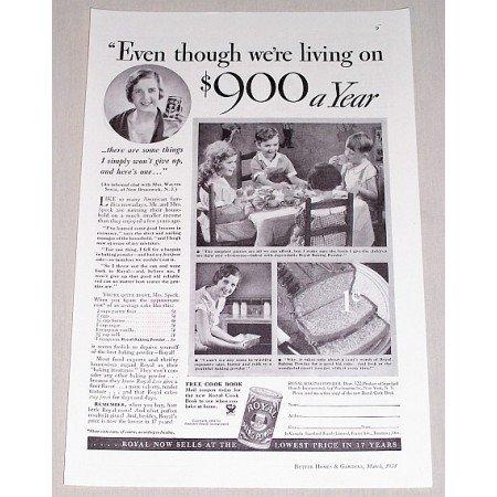 1934 Royal Baking Powder Print Ad - $900 Dollars A Year