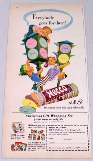 1952 Necco Thin Sugar Wafer Candy Vintage Color Children Art Print Ad