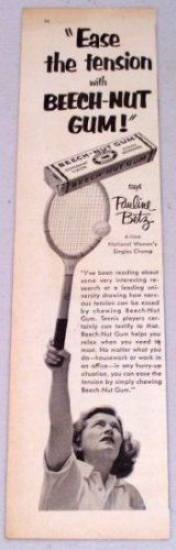 1952 Beech Nut Chewing Gum Vintage Ad Tennis Celebrity Pauline Betz
