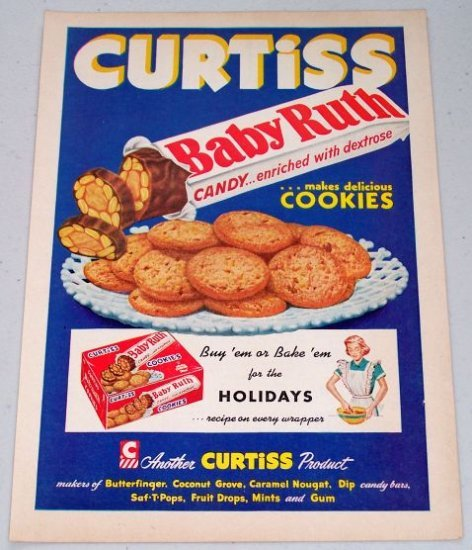 1952 Curtiss Baby Ruth Candy Cookies Vintage Color Print Ad