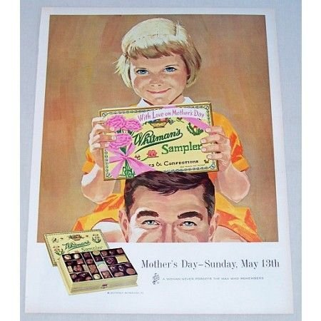 1962 Whitman's Chocolate Sampler Color Mothers Day Art Color Print Ad