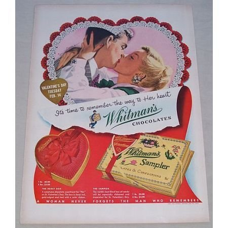 1950 Whitman's Sampler Candy Valentines Color Print Ad