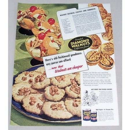 1947 Diamond Walnuts Oatmeal Crispies Recipe Color Print Ad