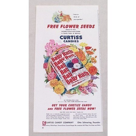 1955 Curtiss Baby Ruth Candy Bars Free Flower Seeds Offer Color Print Ad
