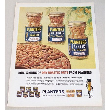 1965 Planters Peanuts Color Print Ad - 3 Kinds Of Nuts