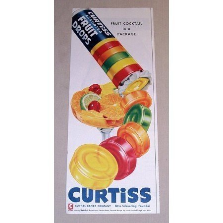 1954 Curtiss Fruit Drops Color Print Ad - Fruit Cocktail