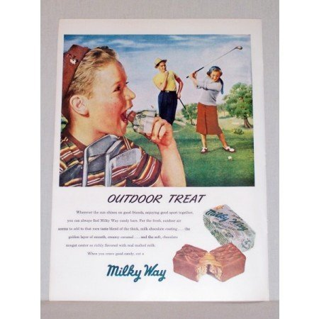 1948 Milky Way Chocolate Candy Bar Golf Art Color Print Ad