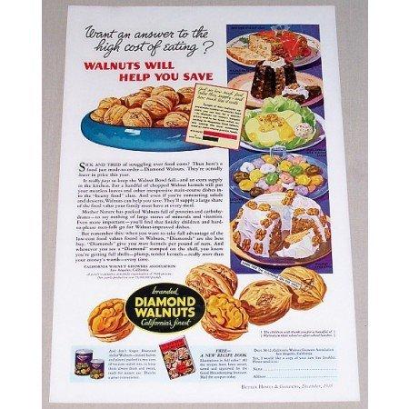 1935 Diamond Walnuts Color Print Ad - Walnuts Help You Save
