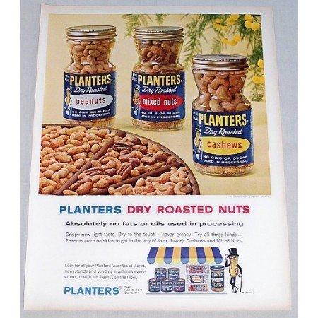 1963 Planters Dry Roasted Nuts Jars Color Print Ad