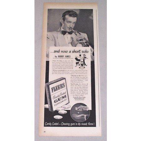 1946 Fleers Gum Print Ad Celebrity Bandleader Harry James