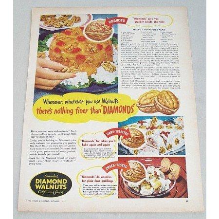 1946 Diamond Walnuts Walnut Salad Recipe Color Print Ad