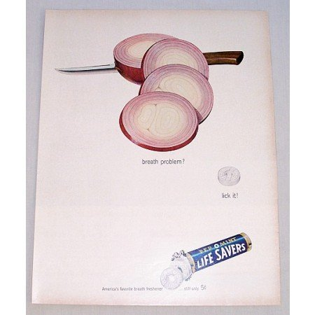 1962 Life Savers Pep O Mint Candy Color Onions Art Ad - Breath Problem?