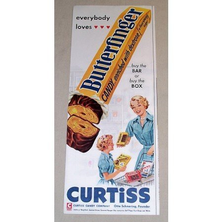1954 Curtiss Butterfinger Candy Bar Color Print Ad