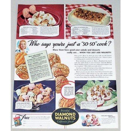 1941 Diamond Walnuts Color Print Ad - Just A So-So Cook?