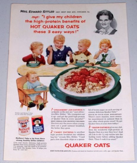1954 Quaker Oat Oatmeal Color Food Print Ad Mrs. Edward Sittler